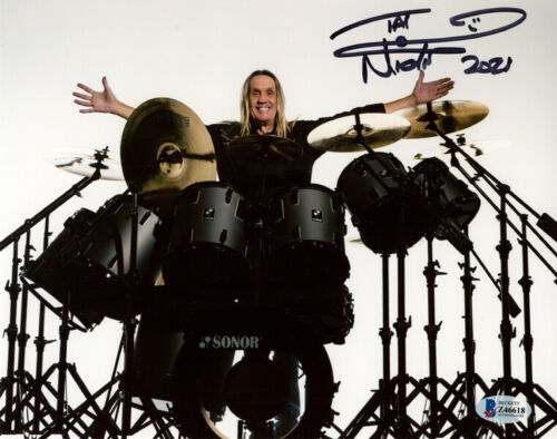 NICKO MCBRAIN SIGNED AUTOGRAPHED 8x10 PHOTO IRON MAIDEN DRUMMER BECKETT BAS
