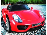 Kids Electric Car Porsche Style 12v, Remote, Mp3, Real Keys, LED Lights, Opening Doors