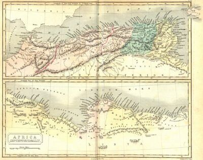 AFRICA. Septentrionalis. North. Butler Classical 1861 old antique map chart