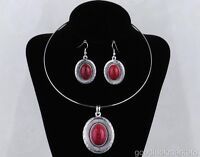 Tibet silver Red pendant with Necklace & Earrings Set