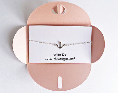 2x Trauzeugin Geschenk: Willst Du meine Trauzeugin sein, Anker Armkette Silber