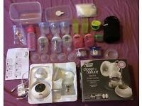 TommeeElectric breast pump with bottles,teats,milk storage,bootle carrier..