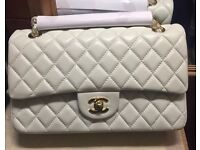 Chanel 2.55 classic flap bag 25cm cream gold not Hermes Gucci Prada Lv