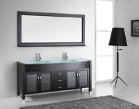 """71"""" Solid Wood Bathroom Vanity with Mirror and Faucet"""
