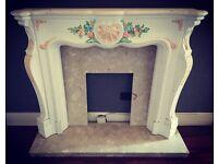 Art nouveau mantel w/ marble hearth fireplace surround
