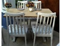 Shabby chic, 4 ft oak table and 4 x upholstered chairs, newly finished set