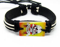 Skull Ethnic smile hot cuff charm chain leather bracelet--NEW!!