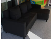 IKEA LUGNVIK Sofa bed with chaise longue, Granån black