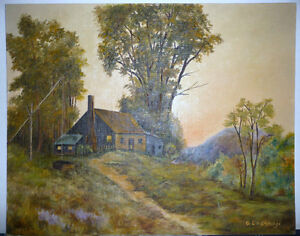 """Vintage Cabin on a Hill by G. Eastman """"Homestead"""" Oil Painting Stratford Kitchener Area image 4"""