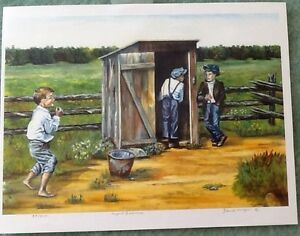 """FRAMED NUMBERED PRINT """" URGENT BUSINESS"""" by Yolande Mongeon, # 3"""