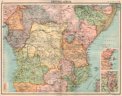 COLONIAL CENTRAL AFRICA. Congo German East Africa Rhodesia. BARTHOLOMEW 1898 map