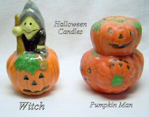 2 Halloween Candles, new, second started & excellent, large, wax