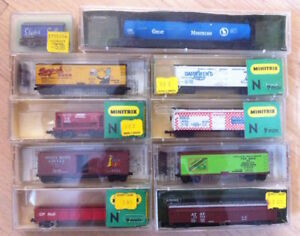 vintage N Scale Model Railroad layout with trains and all parts