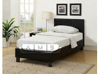 BRAND NEW 3ft SINGLE FAUX LEATHER BED FRAME WITH CHOICE OF MATTRESSES