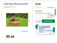 Brand new Chad Valley Wooden Sandpit with seats