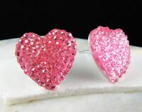 Pink Shiny Diamante Heart Fashion jewelry Stud Earrings--NEW!
