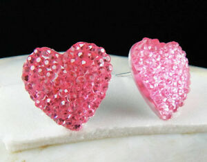 Pink Shiny Diamante Heart Fashion jewelry Stud Earrings--NEW!