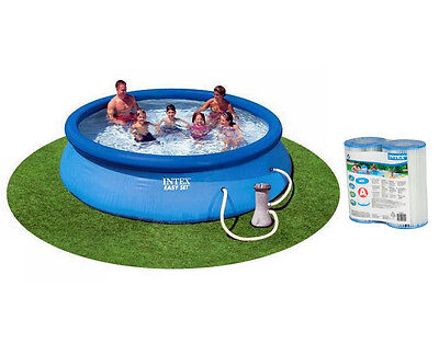 """Intex 12' x 30"""" Easy Set Swimming Pool with 530 GPH Pump & Two Filter Cartridges"""