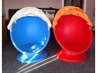 2 Ikea Kids Lomsk Swivel Egg Chairs - 1 Blue 1 Red