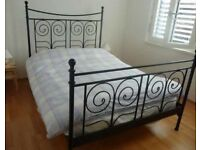 Ikea black metal double bed with mattess