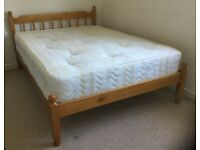 Pine double bedstead and luxury premium mattress