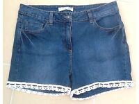 Denim Shorts, Size 14