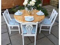 Extending Solid Pine Round Dining Table & 4 Chairs ~ Shabby Chic Vintage