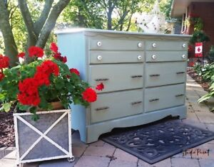 Painted Maple Six Drawer Duck Egg Blue Change Table Dresser