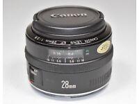 CANON EF 28mm WIDE ANGLE F/2.8 AF PRIME PORTRAIT LENS
