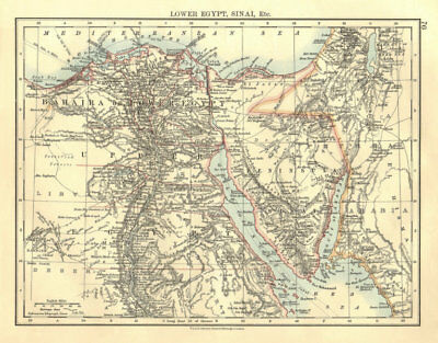 LOWER EGYPT & SINAI. Provinces. Nile valley/delta. Railways.  JOHNSTON 1906 map