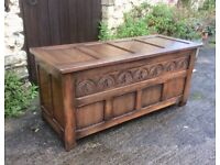 Vintage Oak Carved Panelled Coffer/ Blanket box