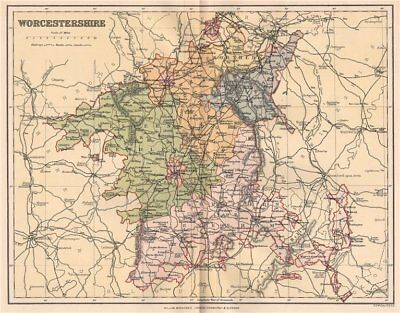 WORCESTERSHIRE. Antique county map 1893 old vintage plan chart