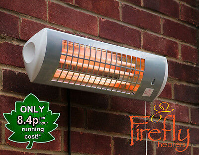 Firefly Wall Mounted Electric Patio Heater Tube Quartz Garden Outdoor 1.8kW