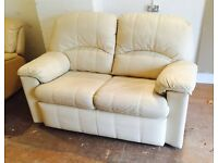 White/Cream leather Gplan sofa (Delivery Included)