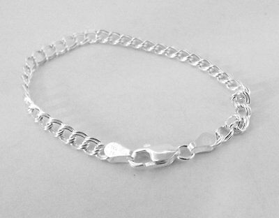 "Child's Sterling Silver 6"" Double Link Charm Bracelet - 0824"