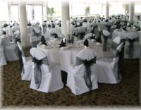 White chair covers with silk sash attached available for rent