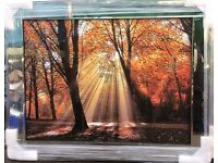 New out liquid art diamonds mirror framed autumn scene
