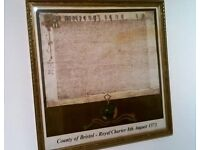 FRAMED PRINT OF ROYAL CHARTER COUNTY OF BRISTOL 1373