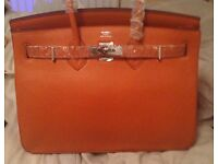 Hermes 35cm birkin bag orange silver not Gucci prada celine YSL