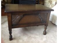 Antique Elm small side table with storage - pull up lid - excellent condition!