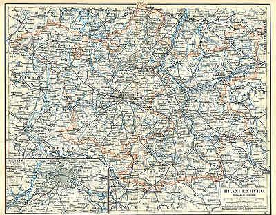 BRANDENBURG Mittelmark Uckermark LANDKARTE von 1897 Priegnitz Niederlausitz
