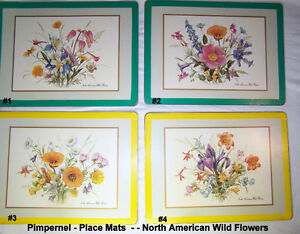 """Vintage Pimpernell Place Mats, 4, England, """"NA Wild Flowers"""""""