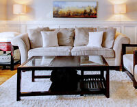 Dark wood coffee table with nesting side tables