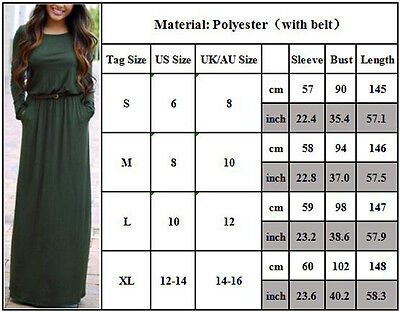 Women's Casual Long Sleeve Loose Plain Belted Pockets Maxi Dress Autumn (Belted Pocket)