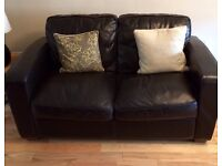 3 piece suite chocolate brown leather DFS and foot stool