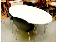 SALE NOW ON!! - White Ikea Oval Dining Table & 4 Dining Chairs - Can Deliver For £19