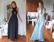 Black/Blue Plunging Halter Neck Evening Party Dress Size 8, 10 Ascot Brisbane North East Preview