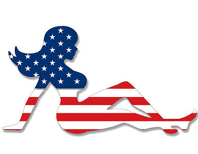 (3x5 inch Mudflap Girl Shaped USA Flag Sticker - American chick mud funny trucker)