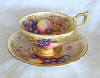 AYNSLEY BONE CHINA CUP & SAUCER - GOLD ORCHARD FRUIT PATTERN