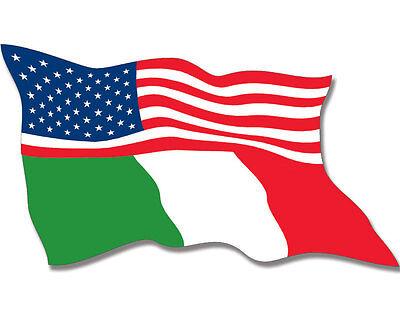 3x5 inch WAVING USA Italy Dual Flag Sticker -decal proud italian american italia